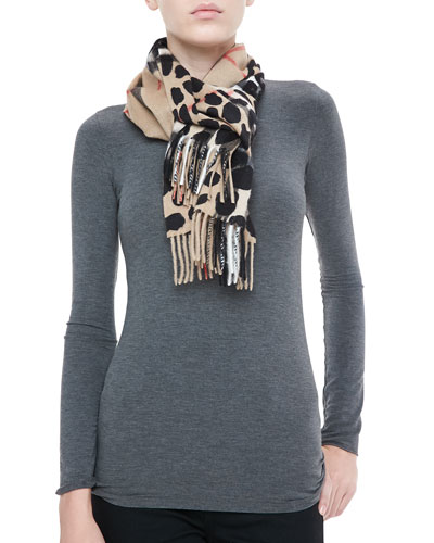 Animal Printed Giant Check Cashmere Scarf