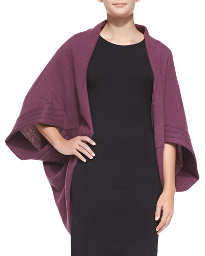 Portolano  Cashmere Cardigan with Quilted Sleeves, Plum