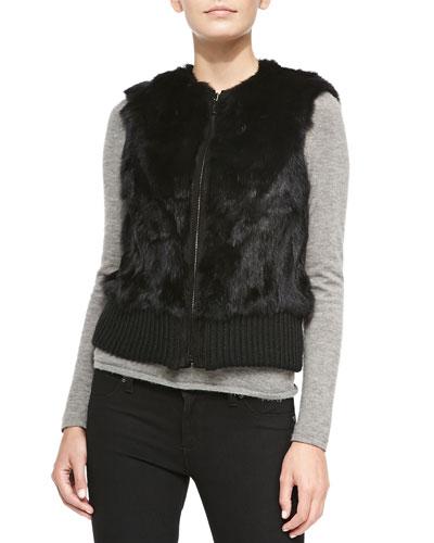 Knit-Banded Rabbit Fur Patchwork Vest, Black
