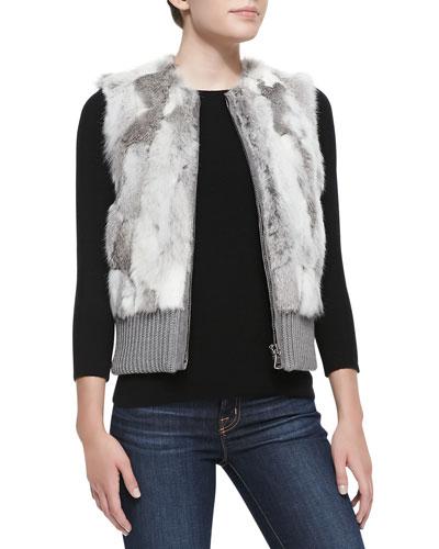 Knit-Banded Rabbit Patchwork Vest, Gray