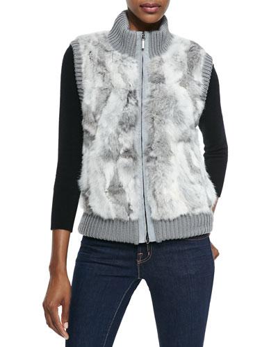 Rabbit Fur & Knit Patch Vest