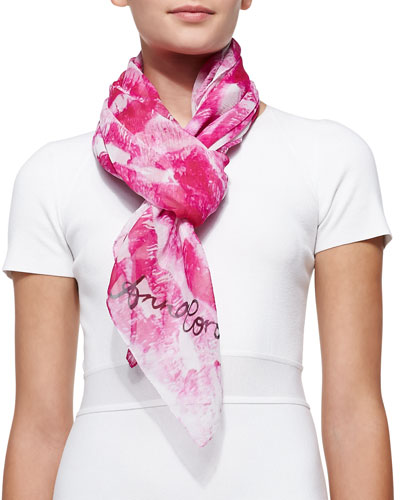 Lip-Print Silk Chiffon Scarf, Pink/White