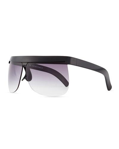 Plastic Wraparound Sunglasses, Black