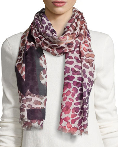 Watercolor Leopard-Print Scarf