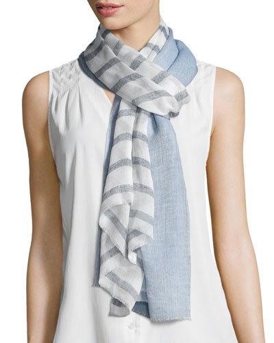 Double-Stripe Voile Scarf, Blue/White