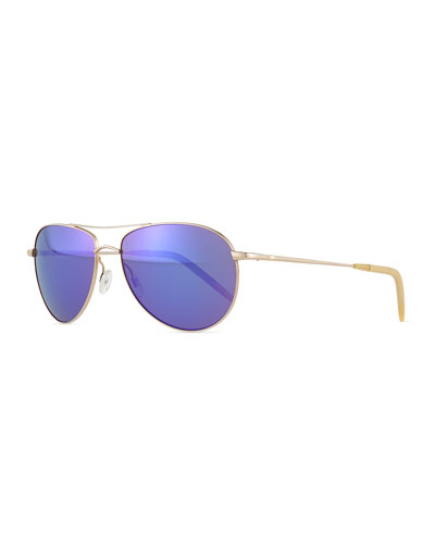 Colored-Lens Aviator Sunglasses, Gold/Purple