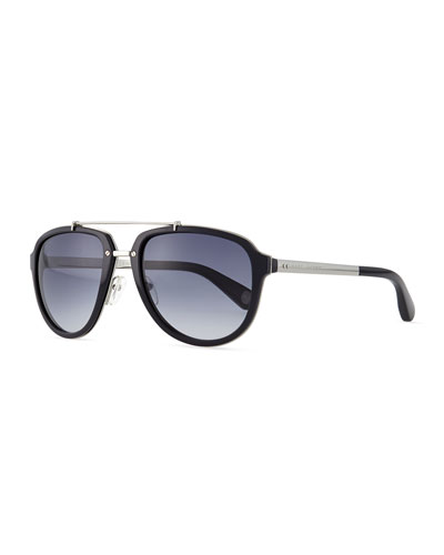Plastic & Metal Aviator Sunglasses, Silver/Black