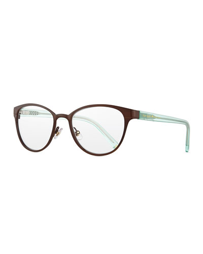 metal oval reader glasses, brown/green