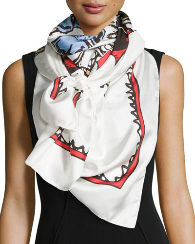 Printed Silk Scarf, Multi Colors