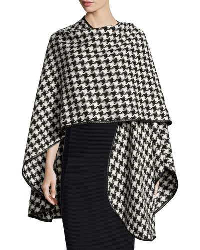 Houndstooth Leather-Trim Cashmere Cape, Black/White