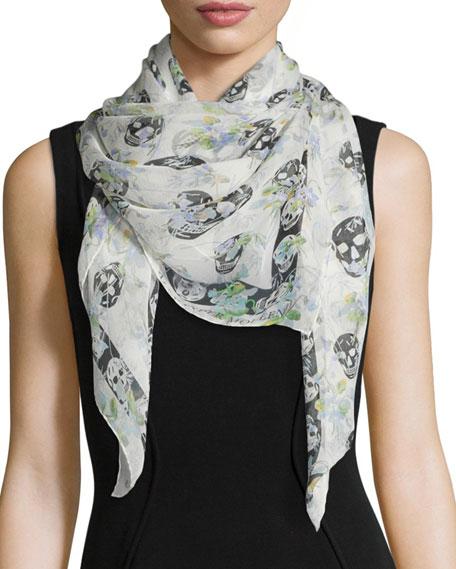 Skull and floral-print silk scarf Alexander McQueen YfPWUEKq