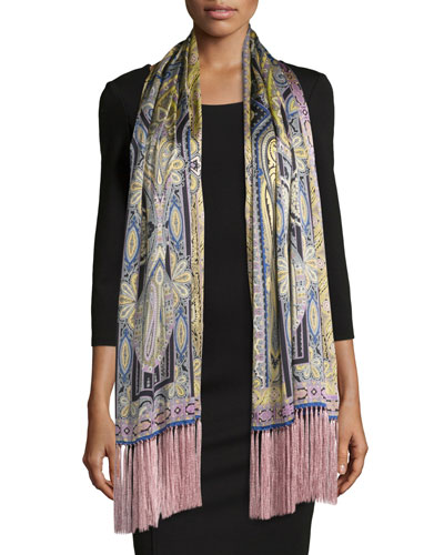 Silk Paisley Fringe Scarf, Green/Pink