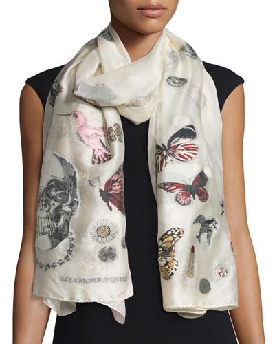 Silk-Blend Mixed-Graphic Scarf, Ivory