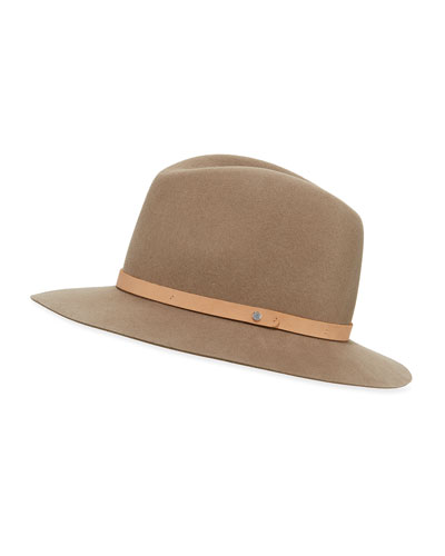 Floppy-Brim Fedora Hat, Almond