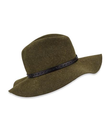 465042279d99 Rag & Bone Wool Felt Wide-Brim Fedora Hat, Green Multi