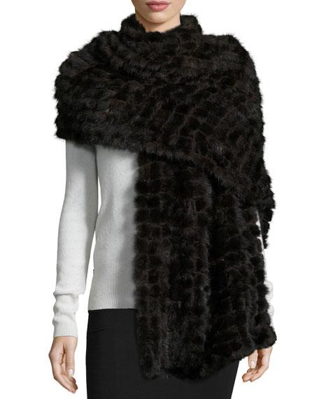 La Fiorentina Natural Mink Fur Stole, Dark Brown