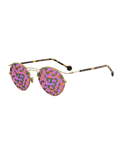 DiorOrigins1 Round Geometric Sunglasses, Brown Tortoise