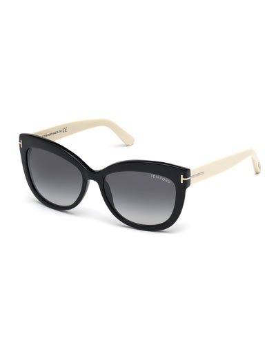 Alistair Two-Tone Squared Cat-Eye Sunglasses, Black/Cream