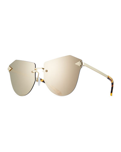 Dancer Rimless Cat-Eye Sunglasses, Tortoise