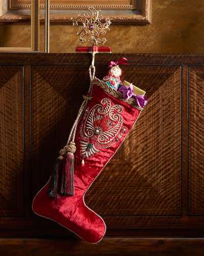 Pearl Paisley Red Christmas Stocking