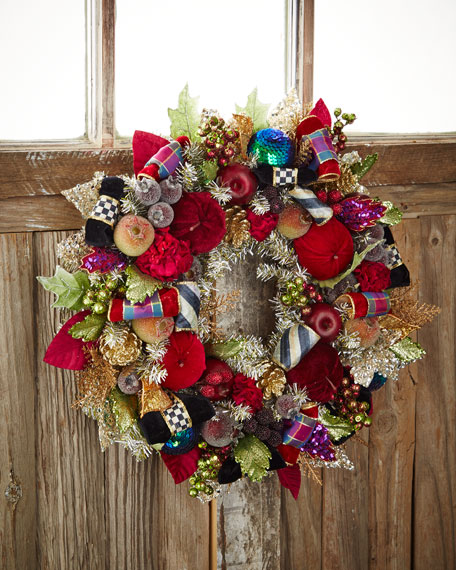 Mackenzie Childs Christmas.Small Holiday Frost Christmas Wreath