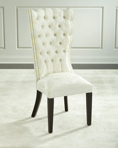 Pantages Damask Dining Chair, Ivory