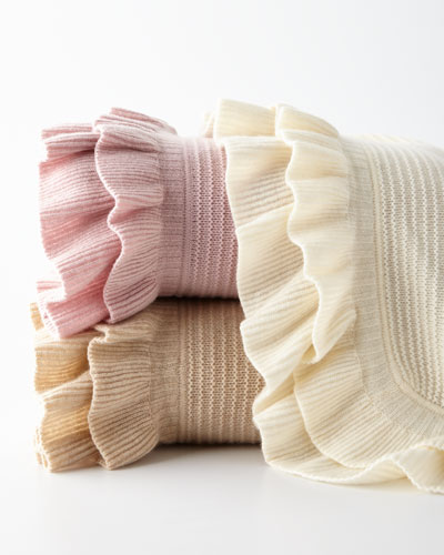 Rib-Knit Ruffle Throw Blanket