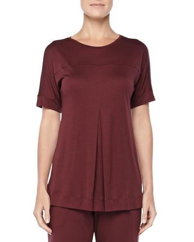Tribeca Short-Sleeve Inverted-Pleat Top, Maroon