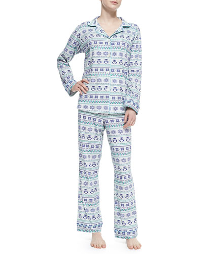Owl Fair Isle Notch-Collar Pajama Set