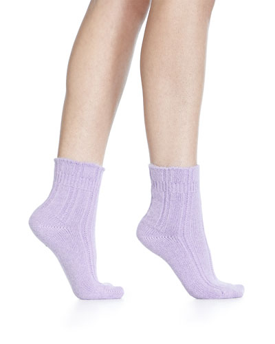Cashmere-Blend Cozy Ruffled Bedsocks, Mauve