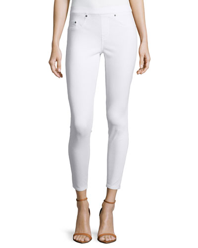 Ready-to-Wow Cropped Denim Leggings, White