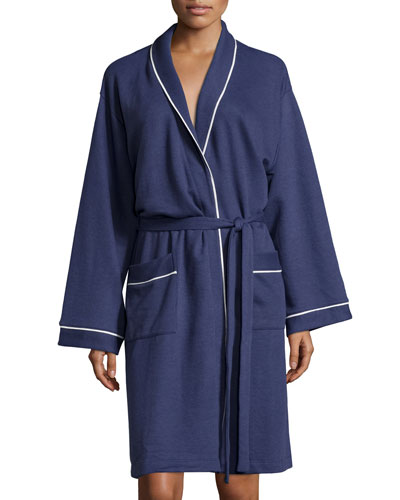 Cortina Piped Long Robe, Navy/Ivory