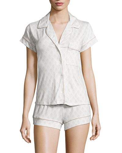 Looking Glass Short Pajama Set, Glass Gray