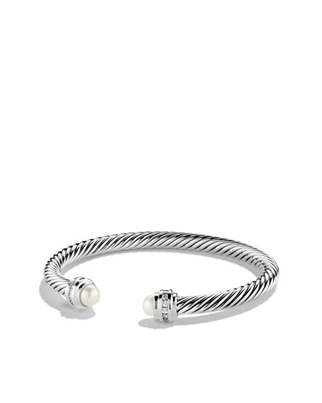 David Yurman Cable Clics Bracelet With Pearls And Diamonds My 5mm Bangles
