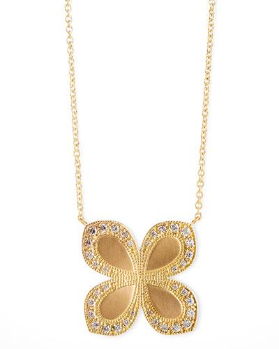 Flower-Pendant Diamond 18k Gold Necklace