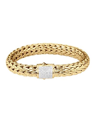 Classic Chain Gold Diamond Bracelet, Large