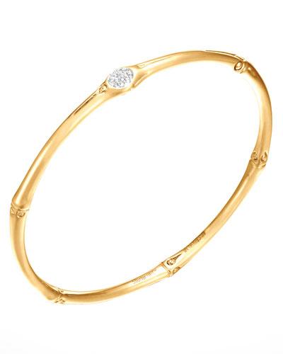 Bamboo Pave Diamond Slim 18k Gold Bangle