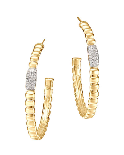 Gold Bedeg Pave Diamond Medium Hoop Earrings