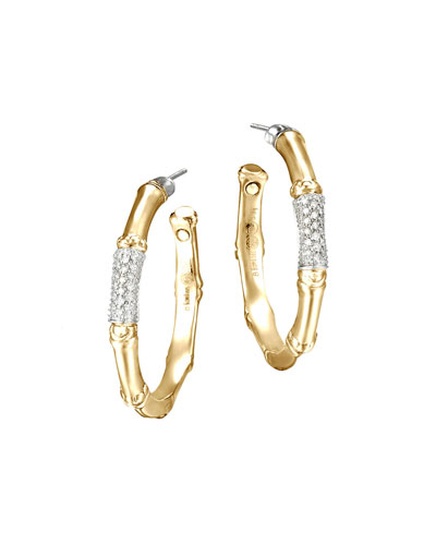 Gold Bamboo Pave Diamond Medium Hoop Earrings