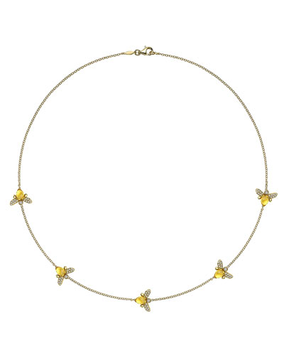 "Eve Citrine & Diamond Bee Necklace, 17""L"