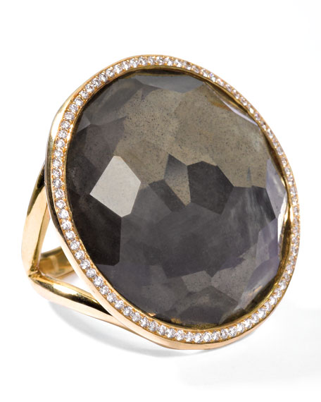 Rock Candy 18k Gold Large Lollipop Diamond Ring, Pyrite