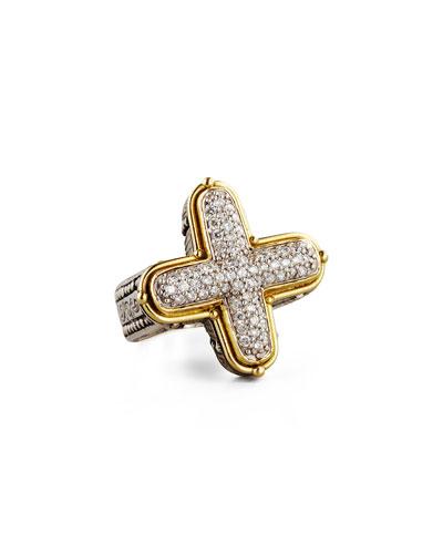 Classic Diamond Pave Cross Ring