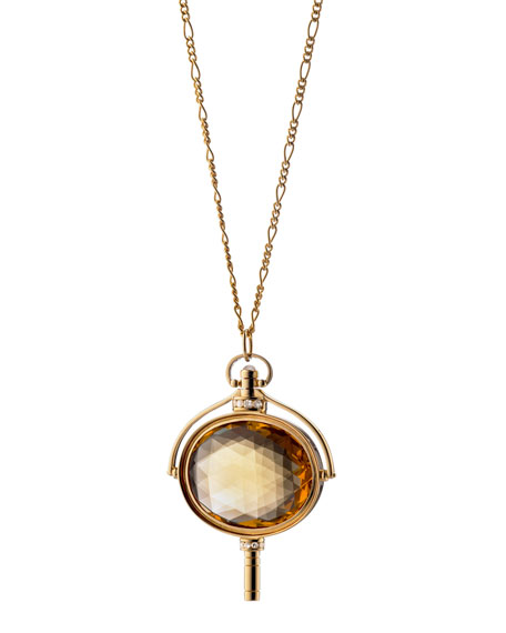 Monica Rich Kosann Pocket Watch Key Honey Quartz Oval Necklace m0ltZaXWsv