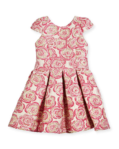 Pleated Metallic Rose Brocade Dress, Pink, Size 4-6X
