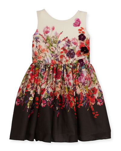 Scarlet Sleeveless Floral Crepe Chiffon Dress, Multicolor, Size 4-6