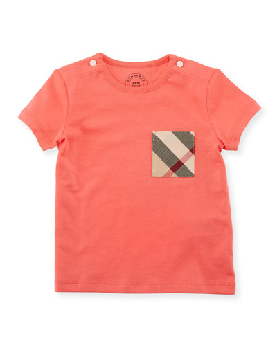 Short-Sleeve Check-Pocket Jersey Tee, Pink, Size 6M-3Y