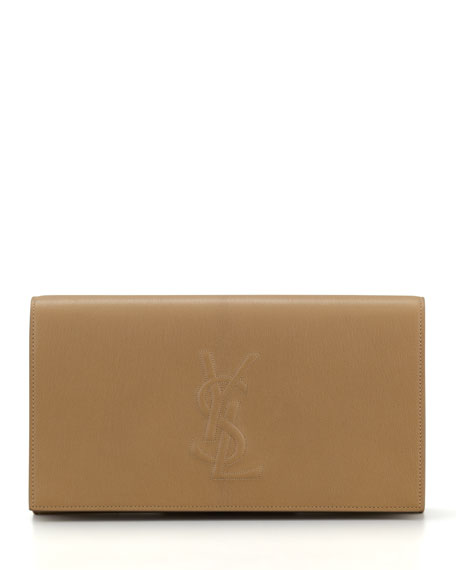 34a41fdc168 Saint Laurent Belle De Jour Large Leather Clutch Bag, Beige