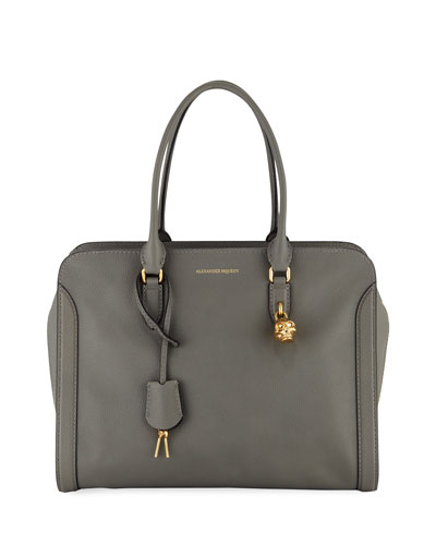 Calfskin Padlock Satchel Bag, Gray