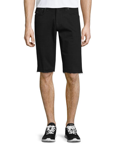 Ricky Flap-Pocket Cutoff Shorts, Black