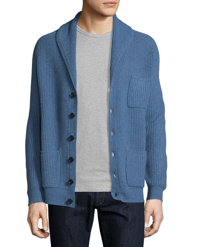 Ribbed Cashmere Shawl Pocket Cardigan, Denim